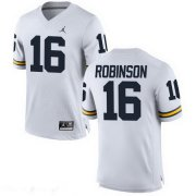Wholesale Cheap Men's Michigan Wolverines #16 Denard Robinson Retired White Stitched College Football Brand Jordan NCAA Jersey