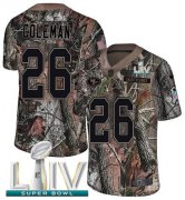 Wholesale Cheap Nike 49ers #26 Tevin Coleman Camo Super Bowl LIV 2020 Men's Stitched NFL Limited Rush Realtree Jersey