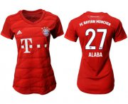 Wholesale Cheap Women's Bayern Munchen #27 Alaba Home Soccer Club Jersey