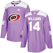 Wholesale Cheap Adidas Hurricanes #14 Justin Williams Purple Authentic Fights Cancer Stitched Youth NHL Jersey