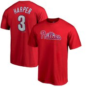 Wholesale Cheap Philadelphia Phillies #3 Bryce Harper Majestic Official Name & Number T-Shirt Red