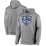 Wholesale Cheap Los Angeles Dodgers Majestic 2019 Postseason Dugout Authentic Pullover Hoodie Gray