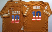 Wholesale Cheap Men's Texas Longhorns 10 Vince Young Orange USA Flag College Jersey