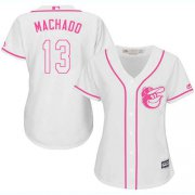 Wholesale Cheap Orioles #13 Manny Machado White/Pink Fashion Women's Stitched MLB Jersey
