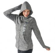 Wholesale Cheap Women's NFL Los Angeles Rams G-III 4Her by Carl Banks Recovery Full-Zip Hoodie Heathered Gray