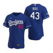 Wholesale Cheap Los Angeles Dodgers #43 Edwin Rios Royal 2020 World Series Champions Jersey