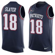 Wholesale Cheap Nike Patriots #18 Matt Slater Navy Blue Team Color Men's Stitched NFL Limited Tank Top Jersey