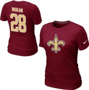 Wholesale Cheap Women's Nike New Orleans Saints #28 Mark Ingram Name & Number T-Shirt Red