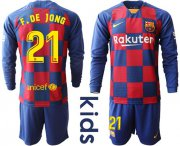 Wholesale Cheap Barcelona #21 F.De Jong Home Long Sleeves Kid Soccer Club Jersey