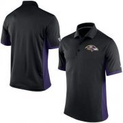 Wholesale Cheap Men's Nike NFL Baltimore Ravens Black Team Issue Performance Polo