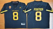 Wholesale Cheap Men's Arizona State Sun Devils #8 D.J. Foster Black Desert Ice 2015 College Football Jersey