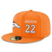 Wholesale Cheap Denver Broncos #22 C.J. Anderson Snapback Cap NFL Player Orange with White Number Stitched Hat