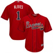 Wholesale Cheap Braves #1 Ozzie Albies Red New Cool Base Stitched MLB Jersey