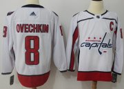 Wholesale Cheap Adidas Capitals #8 Alex Ovechkin White Road Authentic Stitched NHL Jersey