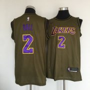 Wholesale Cheap Los Angeles Lakers #2 Lonzo Ball Olive Nike Swingman Jersey