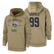 Wholesale Cheap Los Angeles Rams #99 Aaron Donald Nike Tan 2019 Salute To Service Name & Number Sideline Therma Pullover Hoodie