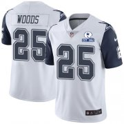 Wholesale Cheap Nike Cowboys #25 Xavier Woods White Men's Stitched With Established In 1960 Patch NFL Limited Rush Jersey