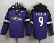 Wholesale Cheap Nike Ravens #9 Justin Tucker Purple Player Pullover NFL Hoodie