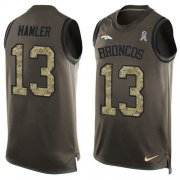 Wholesale Cheap Nike Broncos #13 KJ Hamler Green Men's Stitched NFL Limited Salute To Service Tank Top Jersey