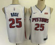 Wholesale Cheap Men's Detroit Pistons #25 Derrick Rose New White 2019 Nike Swingman Stitched NBA Jersey With The Sponsor Logo