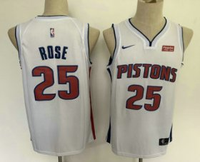 Wholesale Cheap Men\'s Detroit Pistons #25 Derrick Rose New White 2019 Nike Swingman Stitched NBA Jersey With The Sponsor Logo