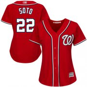 Wholesale Cheap Nationals #22 Juan Soto Red Alternate Women's Stitched MLB Jersey