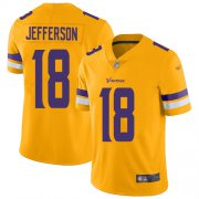 Wholesale Cheap Nike Vikings #18 Justin Jefferson Gold Men's Stitched NFL Limited Inverted Legend Jersey