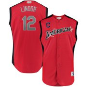 Wholesale Cheap American League #12 Francisco Lindor Majestic 2019 MLB All-Star Game Workout Player Jersey Red