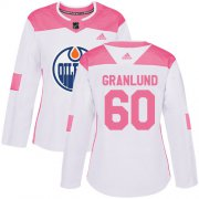 Wholesale Cheap Adidas Oilers #60 Markus Granlund White/Pink Authentic Fashion Women's Stitched NHL Jersey