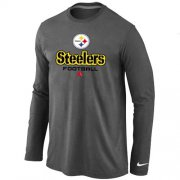 Wholesale Cheap Nike Pittsburgh Steelers Critical Victory Long Sleeve T-Shirt Dark Grey