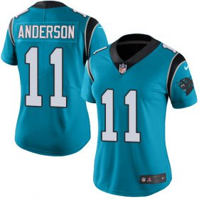 Wholesale Cheap Nike Panthers #11 Robby Anderson Blue Women\'s Stitched NFL Limited Rush Jersey