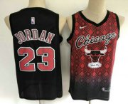 Wholesale Cheap Men's Chicago Bulls #23 Michael Jordan Red with Black Salute Nike Swingman Stitched NBA Jersey