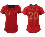 Wholesale Cheap Women's Portugal #20 Quaresma Home Soccer Country Jersey