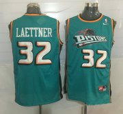 Wholesale Cheap Men's Detroit Pistons #32 Christian Laettner Teal Green Hardwood Classics Soul Swingman Throwback Jersey
