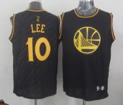 Wholesale Cheap Golden State Warriors #10 David Lee Revolution 30 Swingman 2014 Black With Gold Jersey