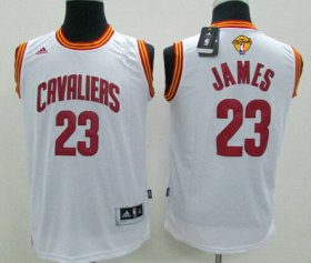 Wholesale Cheap Men\'s Cleveland Cavaliers #23 LeBron James White 2017 The NBA Finals Patch Jersey