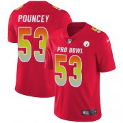 Wholesale Cheap Nike Steelers #53 Maurkice Pouncey Red Youth Stitched NFL Limited AFC 2019 Pro Bowl Jersey