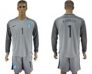 Wholesale Cheap Greece #1 Karnezis Grey Goalkeeper Long Sleeves Soccer Country Jersey