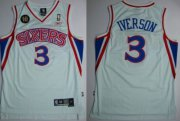Wholesale Cheap Philadelphia 76ers #3 Allen Iverson White 10TH Swingman Jersey