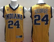 Wholesale Cheap Indiana Pacers #24 Paul George Yellow With Pinstripe Swingman Throwback Jersey