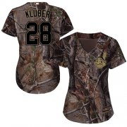 Wholesale Cheap Indians #28 Corey Kluber Camo Realtree Collection Cool Base Women's Stitched MLB Jersey