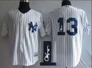Wholesale Cheap Yankees #13 Alex Rodriguez White Autographed Stitched MLB Jersey