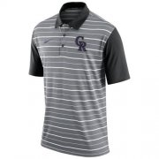 Wholesale Cheap Men's Colorado Rockies Nike Gray Dri-FIT Stripe Polo