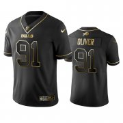 Wholesale Cheap Nike Bills #91 Ed Oliver Black Golden Limited Edition Stitched NFL Jersey