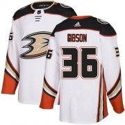 Wholesale Cheap Adidas Ducks #36 John Gibson White Road Authentic Youth Stitched NHL Jersey