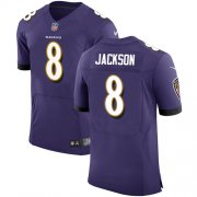 Wholesale Cheap Nike Ravens #8 Lamar Jackson Purple Team Color Men's Stitched NFL Vapor Untouchable Elite Jersey