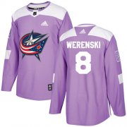 Wholesale Cheap Adidas Blue Jackets #8 Zach Werenski Purple Authentic Fights Cancer Stitched Youth NHL Jersey