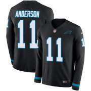 Wholesale Cheap Nike Panthers #11 Robby Anderson Black Team Color Youth Stitched NFL Limited Therma Long Sleeve Jersey