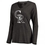 Wholesale Cheap Women's Colorado Rockies Platinum Collection Long Sleeve V-Neck Tri-Blend T-Shirt Black