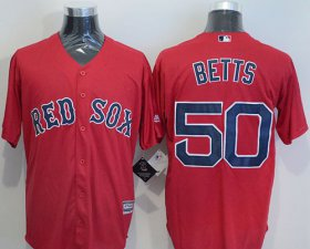 Wholesale Cheap Red Sox #50 Mookie Betts Red New Cool Base Stitched MLB Jersey